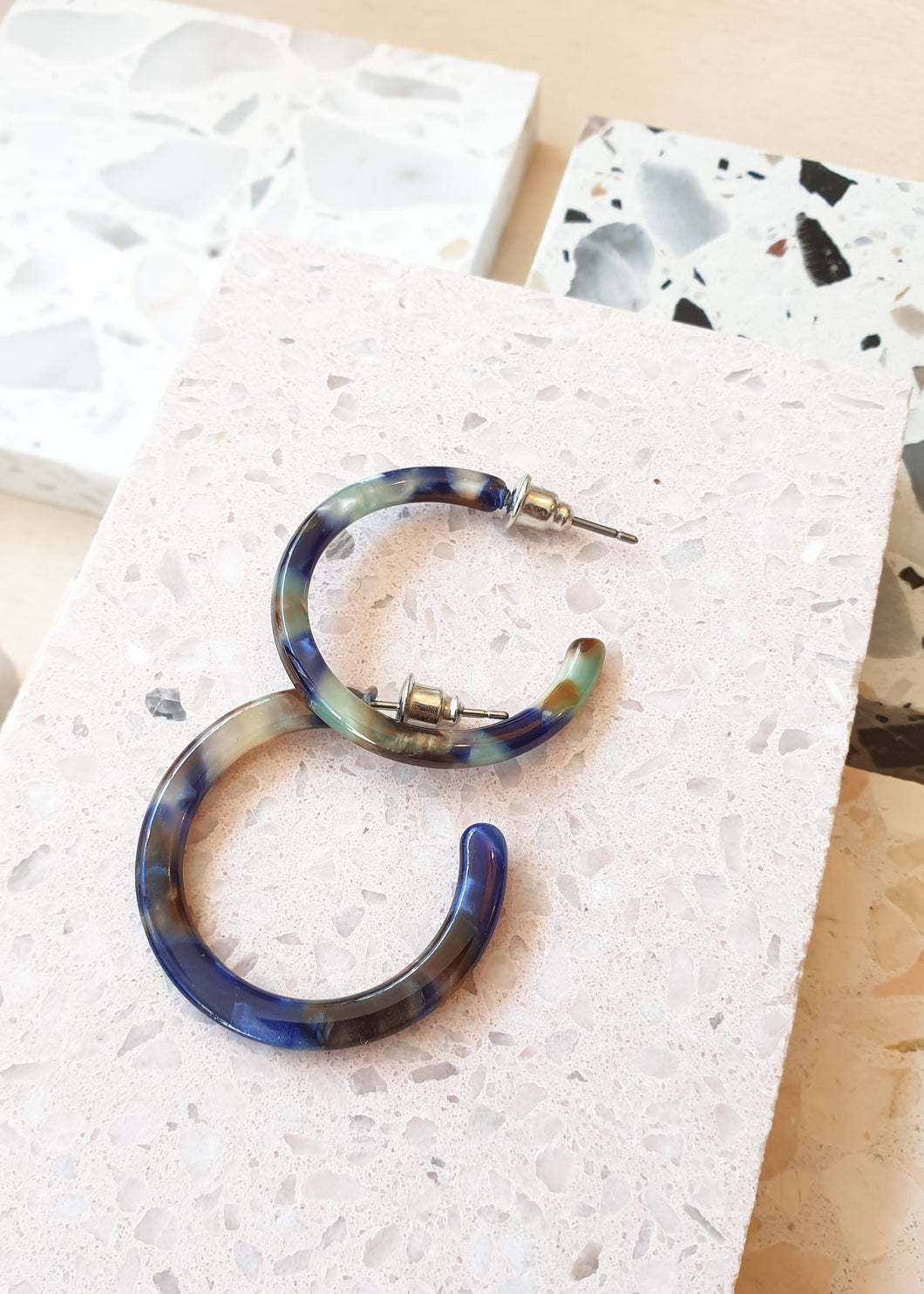 Ava Resin Earrings - Blue Multi