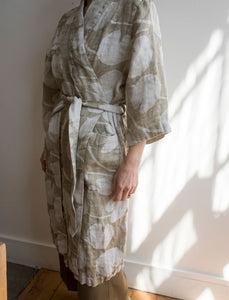Fine Little Day Water Lilies Linen Robe - Olive