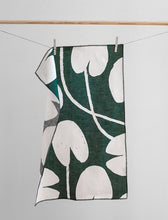 Load image into Gallery viewer, Water Lilies Linen Tea Towel - Green