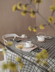 Fine Little Day Rutig Linen Tablecloth - Black