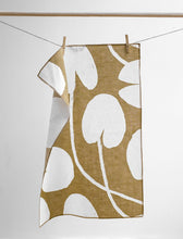 Load image into Gallery viewer, Water Lilies Linen Tea Towel - Mustard