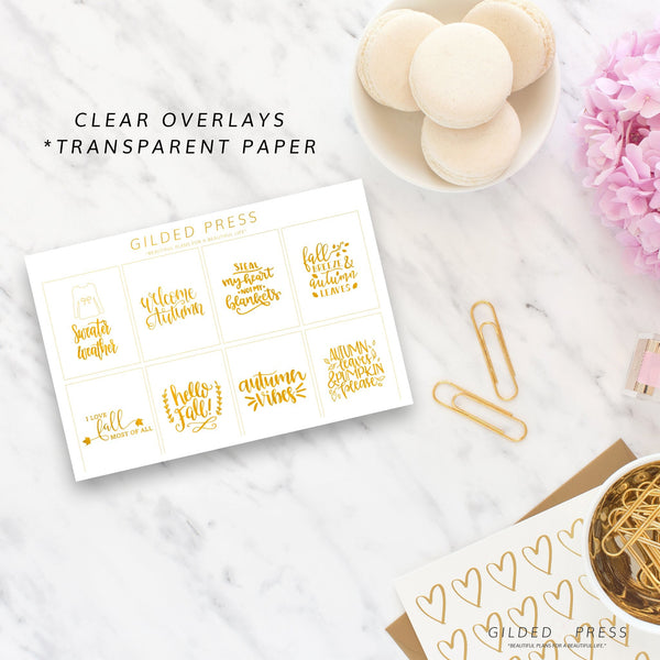 Foil Overlay Planner Stickers - Autumn Quotes V.1 - Gilded Press Studio