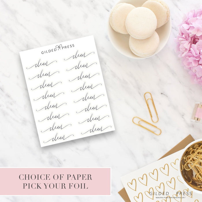 Foil Script Planner Stickers - Clean - Gilded Press Studio