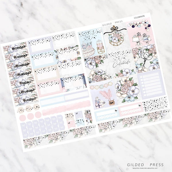 CELEBRATE | FOIL B6 PLANNER STICKER KIT - STICKERS
