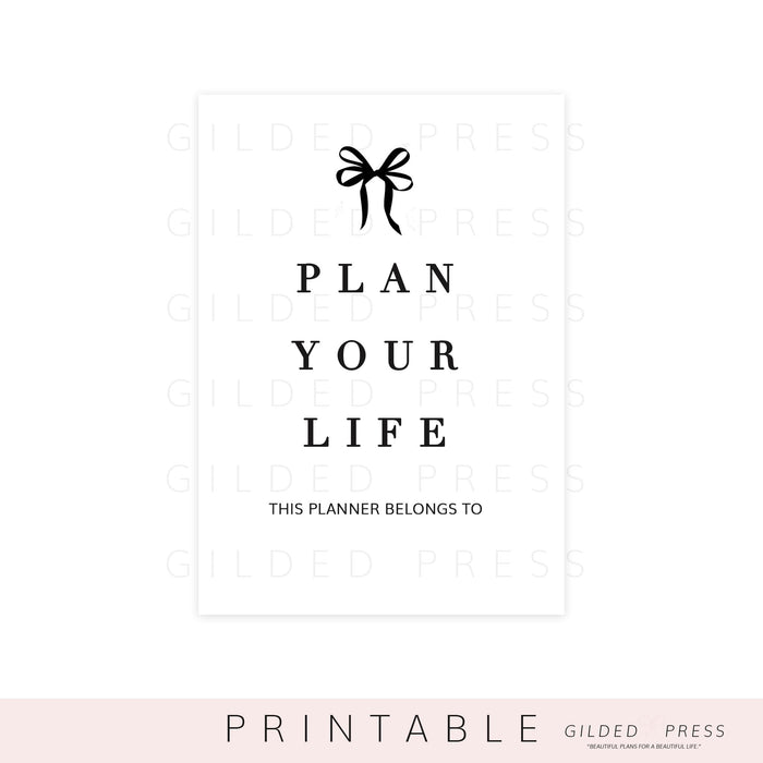 (PRINTABLE) Plan Your Life Dashboard - Gilded Press Studio