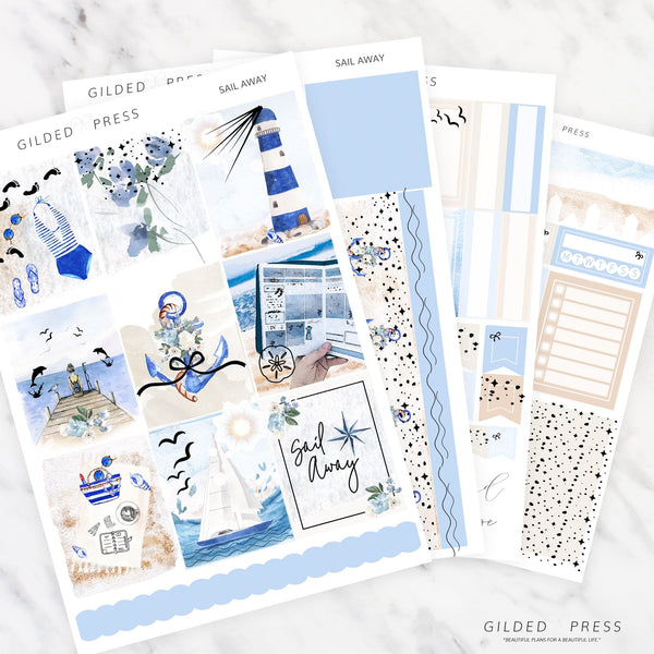 SAIL AWAY | FOIL WEEKLY PLANNER STICKER KIT - STICKERS