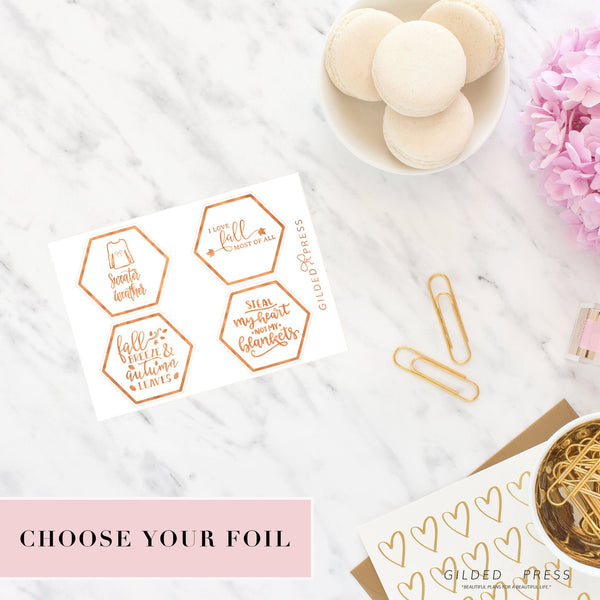 50% OFF - Foil Planner Stickers - Autumn V.1 Hexagon Covers - STICKERS