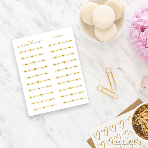 Foil Decorative Divider Planner Stickers - V.4 - Gilded Press Studio