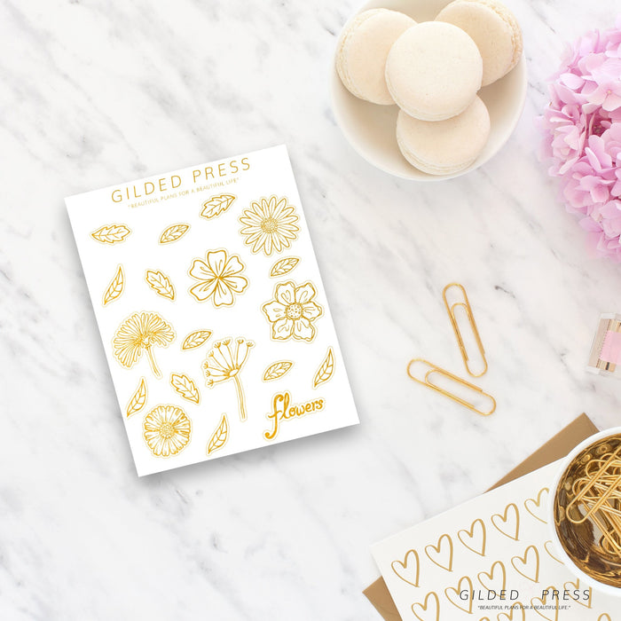 Foiled Flower Planner Stickers - Gilded Press Studio
