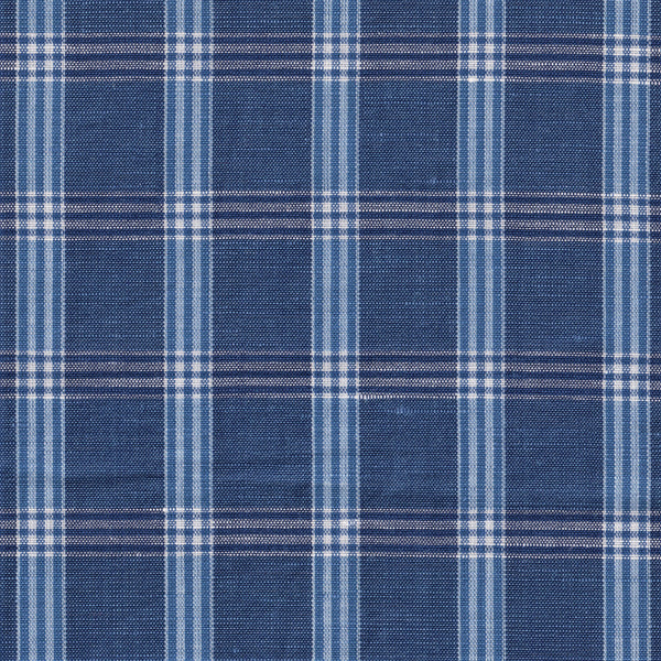 Blue cotton/Linen Windowpane Check