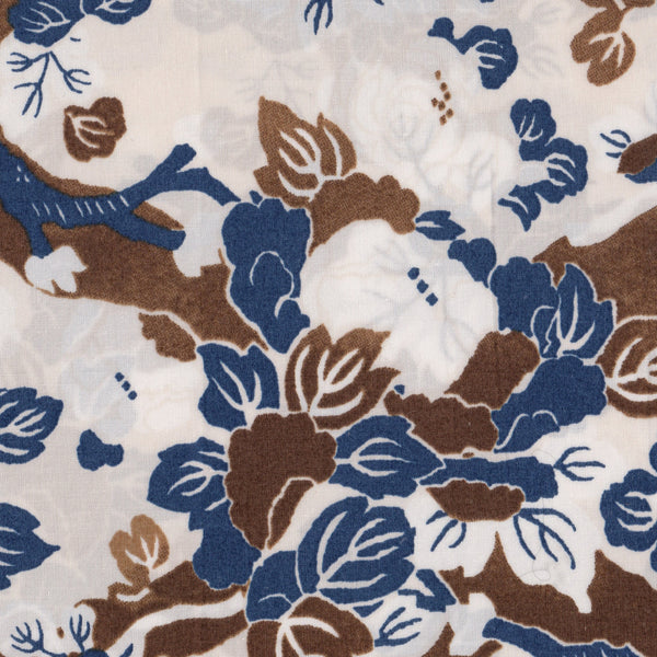Brown and Blue Floral Print