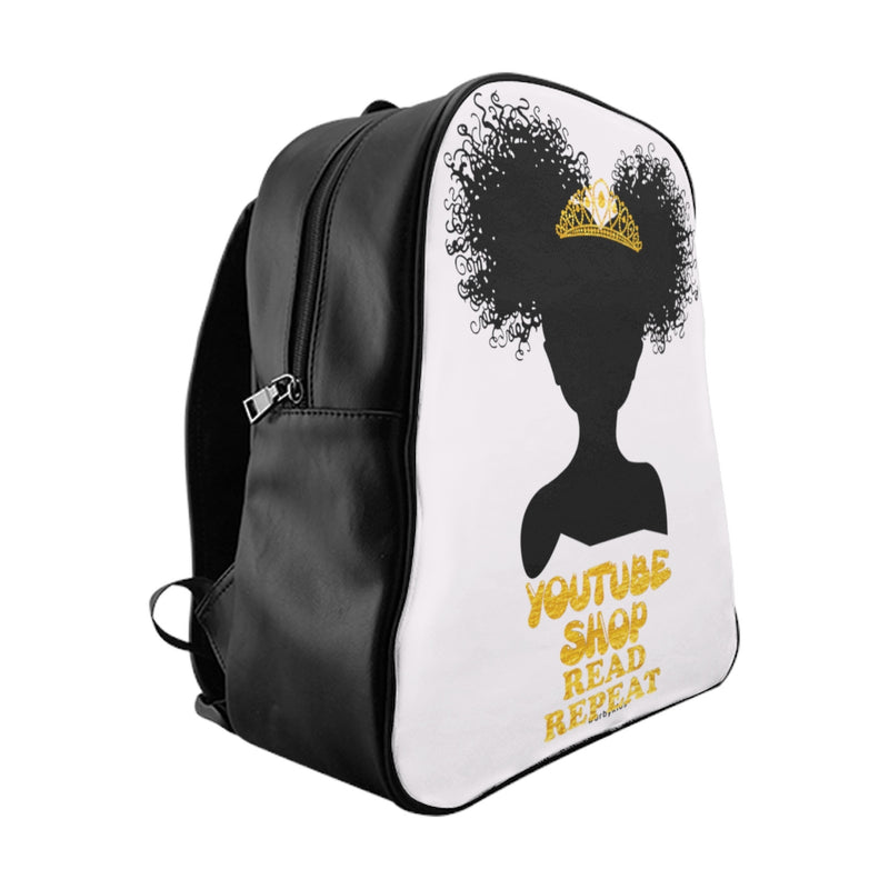 Youtube Shop Read Repeat Backpack White/Gold