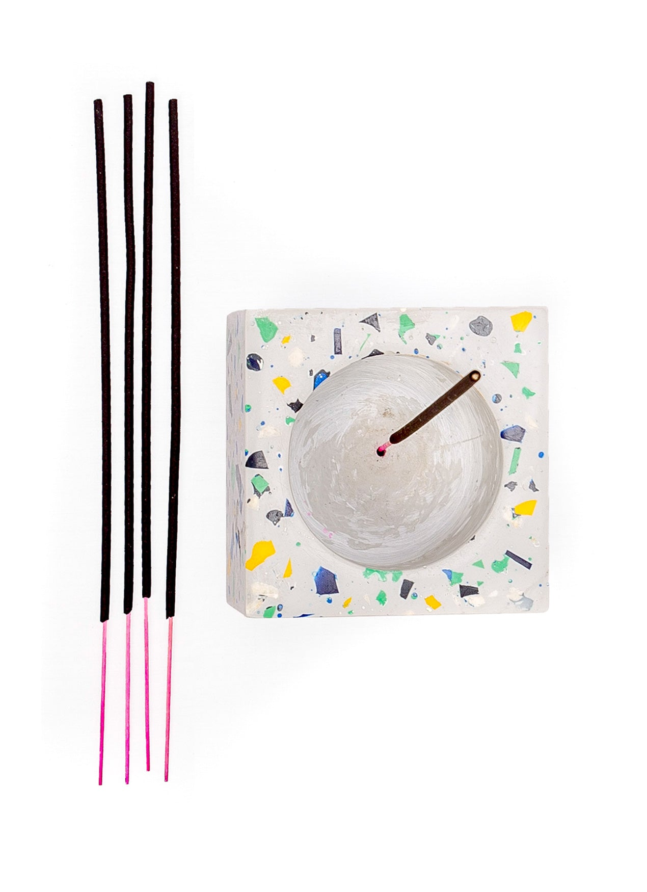 White Incense Holder with Incense Sticks