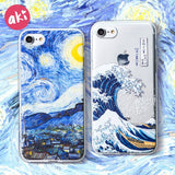 AKI Relief Phone Case for iPhone 6s 6 Plus Case Emboss Artistic Van Gogh Starry Night Soft for iPhone X iPhone 8 7 Plus Case