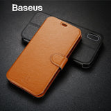 Baseus Elegant Leather Flip Case For iPhone X Fashion Simple Wallet Leather Case For iPhone X Cover with Card Slot Holder Stand