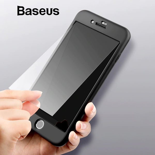 Baseus 360 Case For iPhone 8 Luxury Full Body Coverage Silicone Case + Tempered Glass For iPhone 8 7 Plus Phone Cover