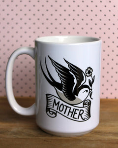 Sparrow with Mother Banner Coffee Mug