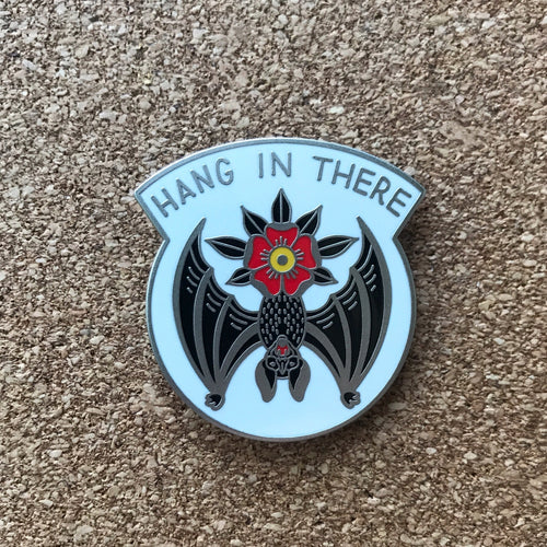 Hang in There Bat Enamel Pin - white