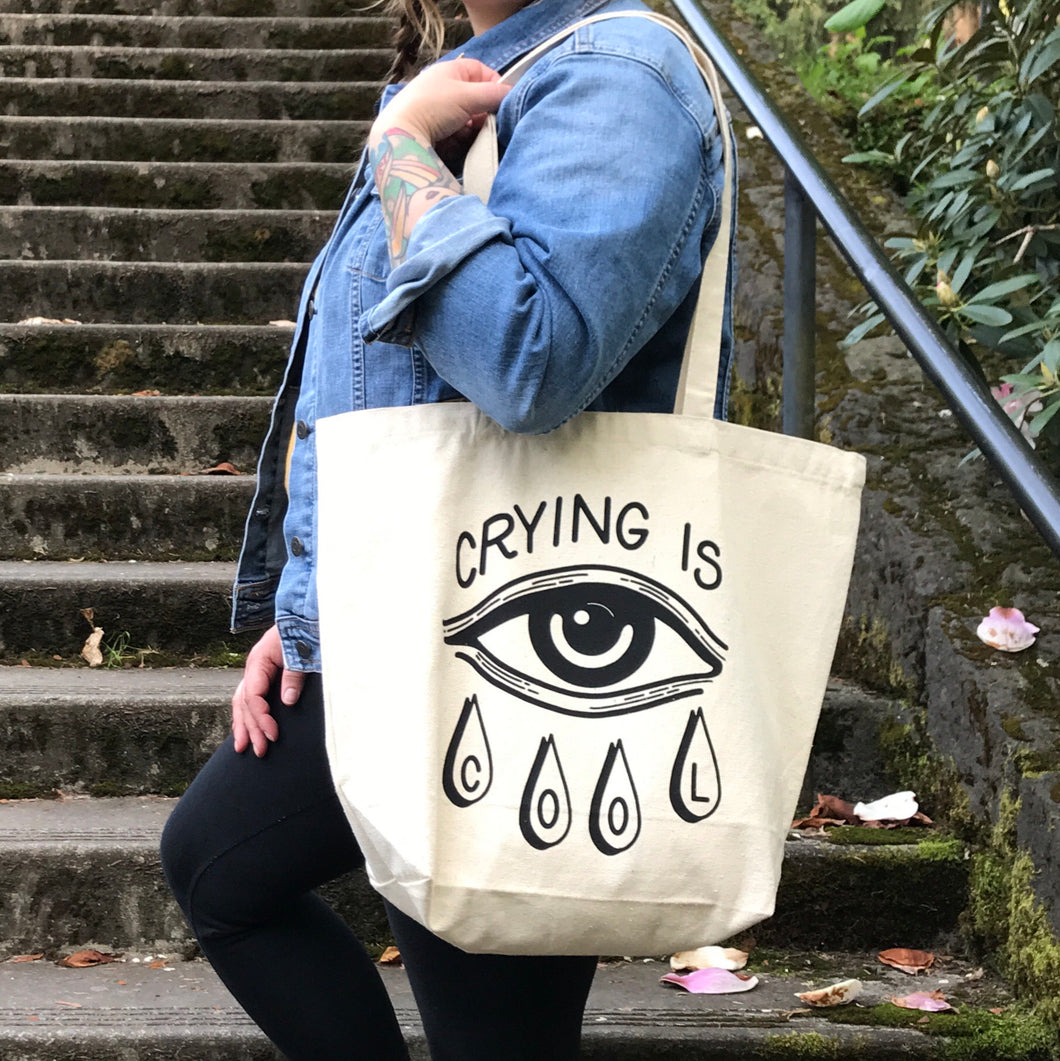 SECONDS Large Crying is Cool Canvas Tote Bag