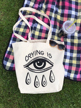Load image into Gallery viewer, SECONDS Large Crying is Cool Canvas Tote Bag