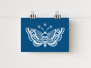 "5x7"" Death Head Moth Print - Blue"