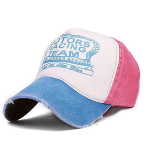 Motors Racing Print Hat Aqua/Pink