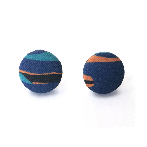 Fabric Covered Button Earrings With Cami Pattern - OlaOla