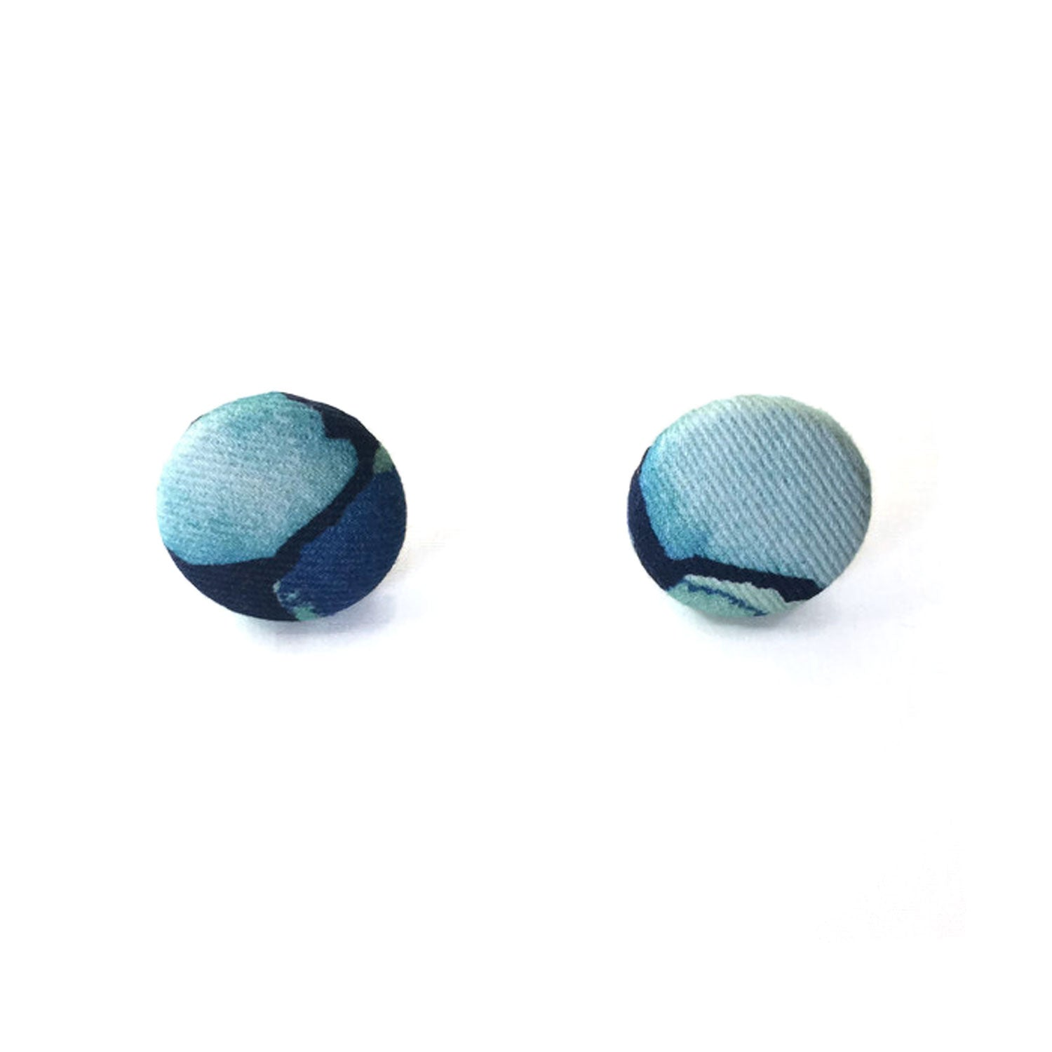 Fabric Covered Button Earrings With Geo Pattern - OlaOla