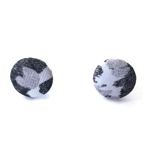 Fabric Covered Button Earrings With Torto B&W Pattern - OlaOla