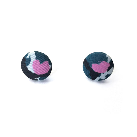 Fabric Covered Button Earrings With Torto Pattern - OlaOla