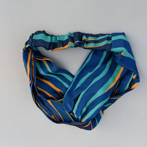 Silk Satin Turban Headband With Cami Pattern - OlaOla