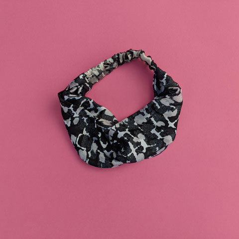 Silk Satin Turban Headband With Torto B&W Pattern - OlaOla