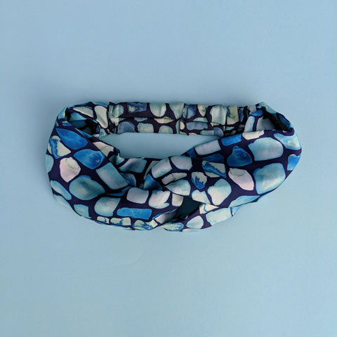 Silk Satin Turban Headband With Geo Pattern - OlaOla