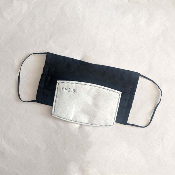Pleated Cotton Face Mask with Filter Pocket + Filter Option