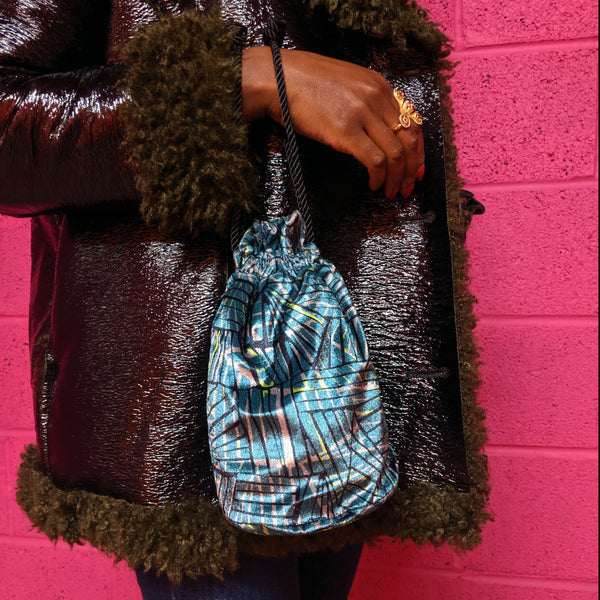 Printed Velvet Bucket Bag-  PREORDER