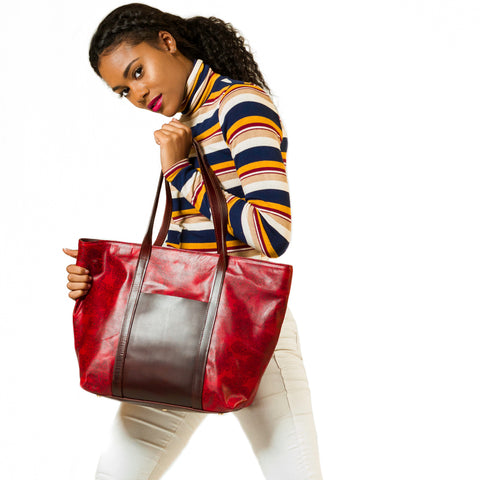 Andrea Service Paisley Leather Tote Bag, Rouge/Multi