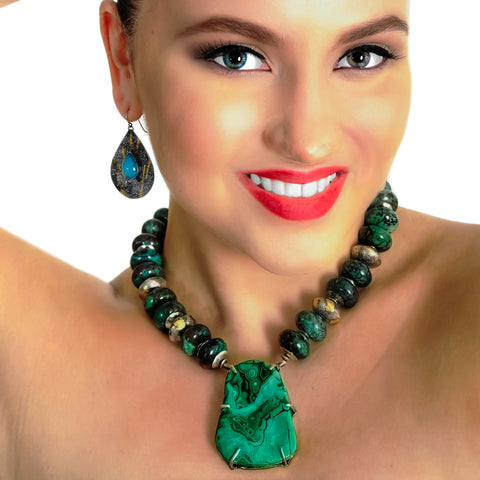 Chrysophase, Silver And 24k Gold Beaded Necklace With Malachite Pendant
