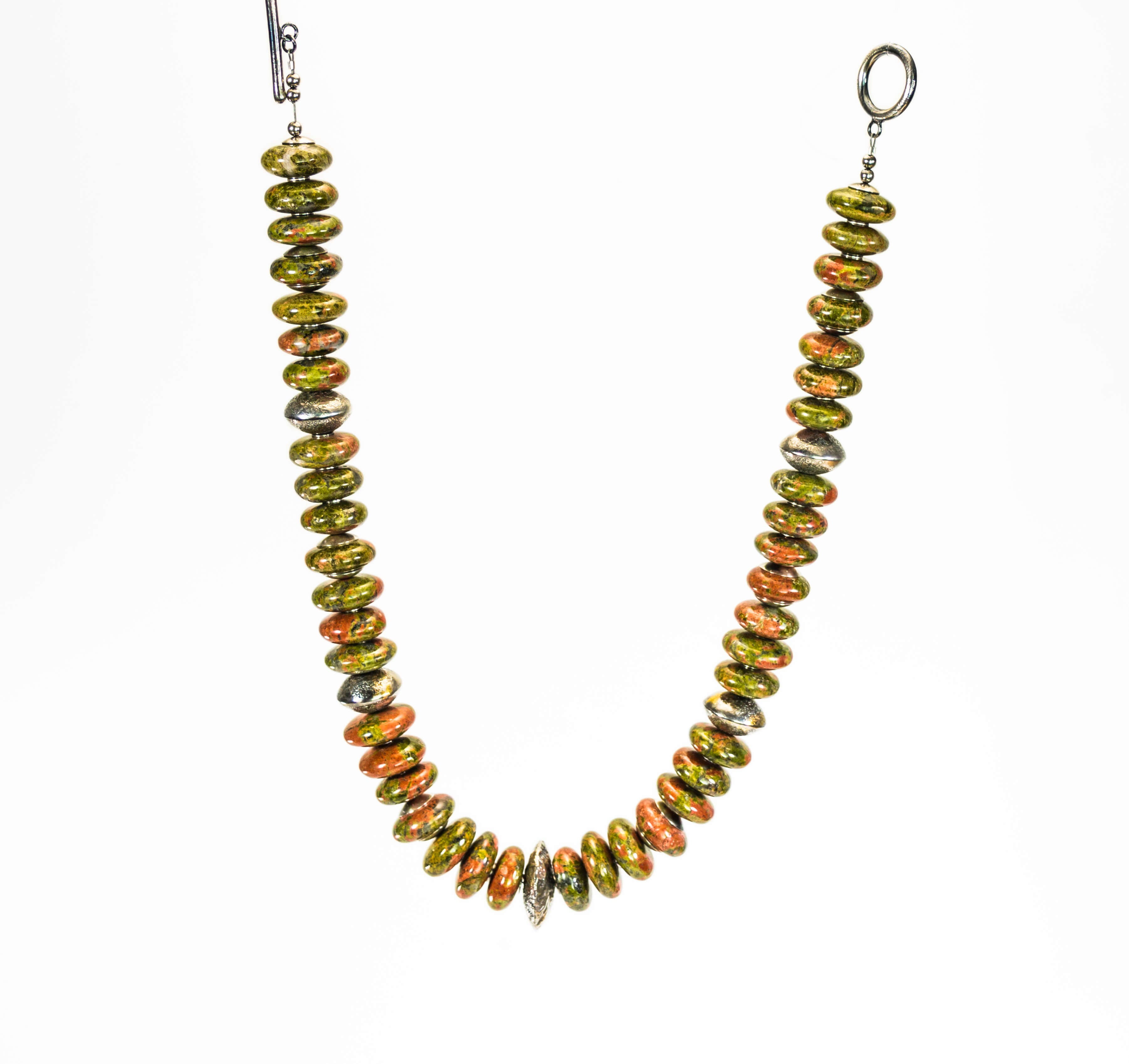 Unakite Jasper And Silver With 24k Gold Beaded Necklace