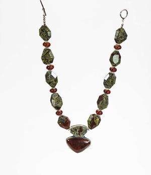 Bloodstone, Carnelian, And Silver Beaded Necklace With Red Jasper Pendant