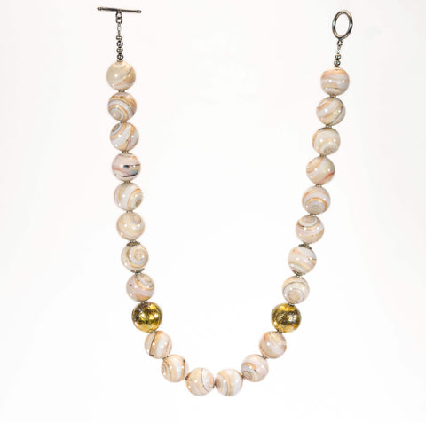 Conch Shell Beads With Silver And 24k Gold Beaded Necklace
