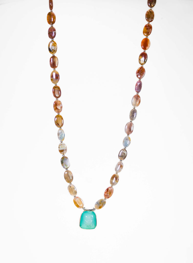 Agate Beaded Long Necklace With Druzy Pendant