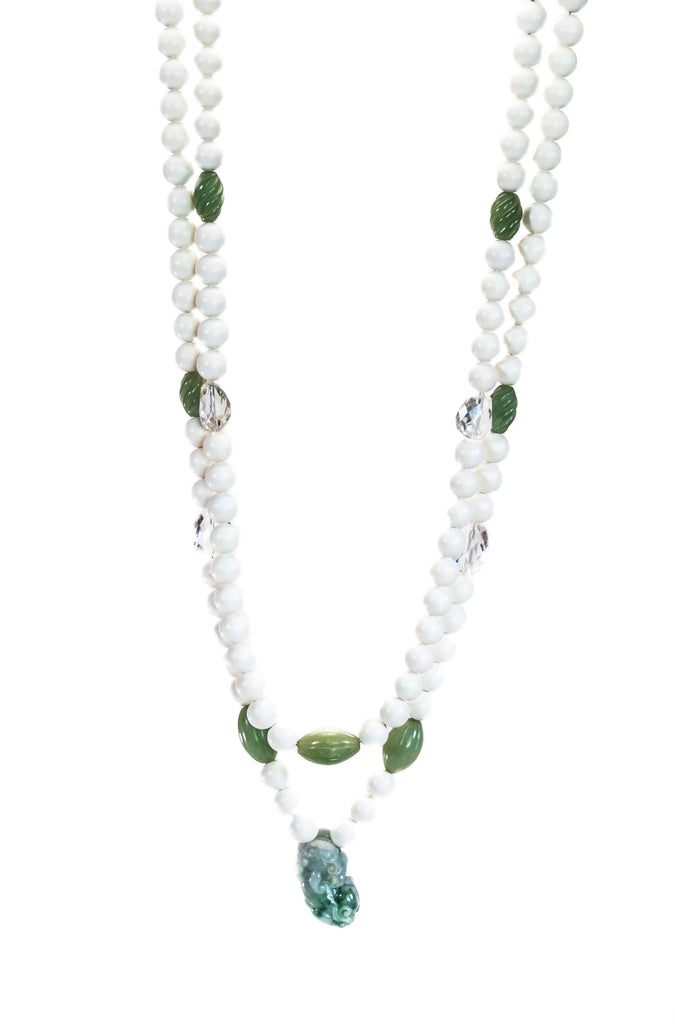 White Lucite, Crystal And Green Jade Beaded Necklace