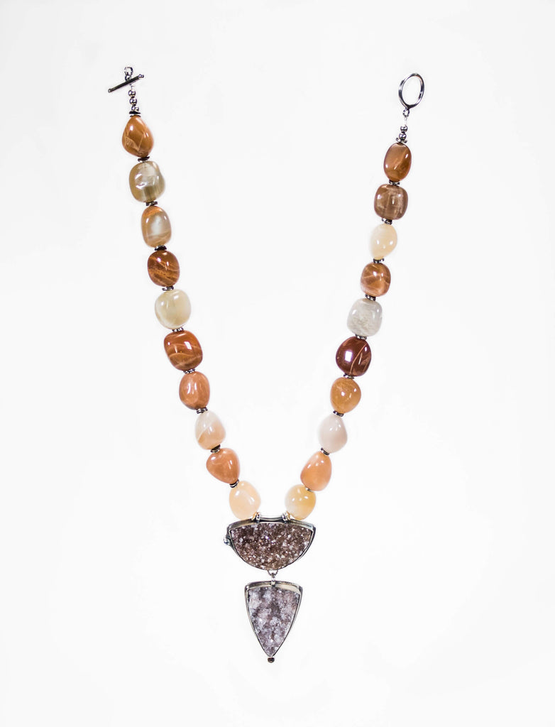Moonstone And Silver Beaded Necklace With Druzy Pendant