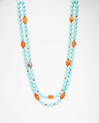 Turquoise Lucite And Carnelian Agate Beaded Necklace