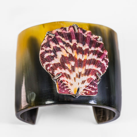 Horn And Lions Paw Shell Cuff Bracelet