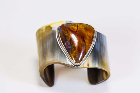 Horn And Agate Gemstone Cuff Bracelet