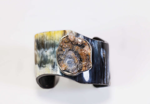 Horn And Druzy Gemstone Cuff Bracelet