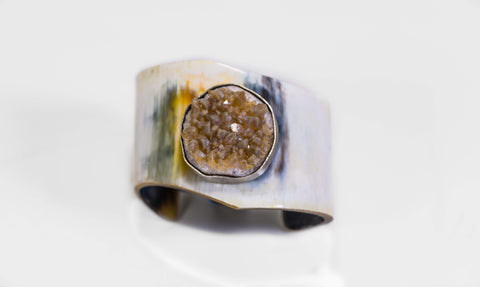 Horn And Citrine Cluster Gemstone Cuff Bracelet