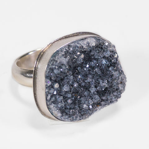 Druzy Gemstone Silver Ring