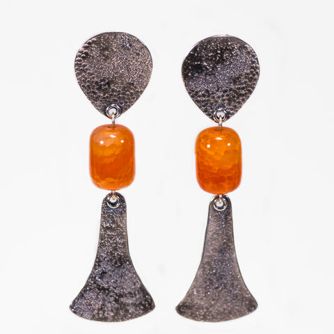Textured Sterling Silver And Carnelian Bead Drop Earrings